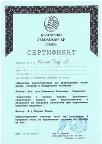 Dr. Georgiev - Dentist in Burgas - sertificate
